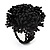 Large Black Glass Bead Flower Stretch Ring - view 3