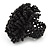 Large Black Glass Bead Flower Stretch Ring - view 4