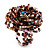 Large Multicoloured Glass Bead Flower Stretch Ring (Cappuccino Brown & Beige) - view 5