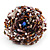 Large Multicoloured Glass Bead Flower Stretch Ring (Cappuccino Brown & Beige) - view 3