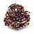 Large Multicoloured Glass Bead Flower Stretch Ring (Cappuccino Brown & Beige) - view 6