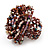 Large Multicoloured Glass Bead Flower Stretch Ring (Cappuccino Brown & Beige) - view 4