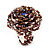 Large Multicoloured Glass Bead Flower Stretch Ring (Cappuccino Brown & Beige) - view 2