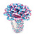 Large Multicoloured Glass Bead Flower Stretch Ring (Light Blue & Pink) - view 4