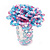 Large Multicoloured Glass Bead Flower Stretch Ring (Light Blue & Pink) - view 6