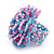 Large Multicoloured Glass Bead Flower Stretch Ring (Light Blue & Pink) - view 3