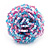 Large Multicoloured Glass Bead Flower Stretch Ring (Light Blue & Pink) - view 2
