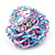 Large Multicoloured Glass Bead Flower Stretch Ring (Light Blue & Pink) - view 5