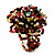 Large Multicoloured Glass Bead Flower Stretch Ring (Olive, Black, Red & White)