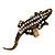 Burn Gold Diamante Crocodile Ring - Adjustable