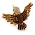 Bold Crystal Bird Ring In Gold Plated Metal (Brown)