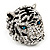 Large Diamante Tiger with Blue Eyes Ring In Rhodium Plating - Adjustable - view 7
