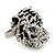 Large Diamante Tiger with Blue Eyes Ring In Rhodium Plating - Adjustable - view 8