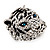 Large Diamante Tiger with Blue Eyes Ring In Rhodium Plating - Adjustable - view 9