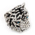 Large Diamante Tiger with Blue Eyes Ring In Rhodium Plating - Adjustable - view 10