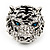 Large Diamante Tiger with Blue Eyes Ring In Rhodium Plating - Adjustable - view 2