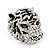Large Diamante Tiger with Blue Eyes Ring In Rhodium Plating - Adjustable - view 11