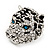 Large Diamante Tiger with Blue Eyes Ring In Rhodium Plating - Adjustable - view 5