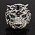 Large Diamante Tiger with Blue Eyes Ring In Rhodium Plating - Adjustable - view 12