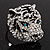 Large Diamante Tiger with Blue Eyes Ring In Rhodium Plating - Adjustable - view 4