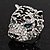 Large Diamante Tiger with Blue Eyes Ring In Rhodium Plating - Adjustable - view 13
