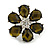 Large Olive Green Diamante 'Flower' Ring In Silver Plating - Adjustable - 4cm Diameter