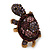 Large Purple Crystal Turtle Ring In Burn Gold Metal - Adjustable - view 5