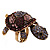 Large Purple Crystal Turtle Ring In Burn Gold Metal - Adjustable - view 8