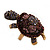 Large Purple Crystal Turtle Ring In Burn Gold Metal - Adjustable - view 13