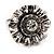 Floral Diamante Fancy Ring In Burn Silver Metal