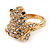 Swarovski Crystal 'Frog' Ring In Gold Plated Metal - view 5