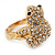 Swarovski Crystal 'Frog' Ring In Gold Plated Metal - view 9