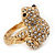 Swarovski Crystal 'Frog' Ring In Gold Plated Metal - view 3