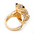 Swarovski Crystal 'Frog' Ring In Gold Plated Metal - view 8