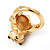 Swarovski Crystal 'Frog' Ring In Gold Plated Metal - view 7