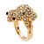 Swarovski Crystal 'Frog' Ring In Gold Plated Metal