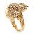Swarovski Crystal 'Frog' Ring In Gold Plated Metal - view 10