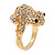 Swarovski Crystal 'Frog' Ring In Gold Plated Metal - view 2