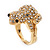 Swarovski Crystal 'Frog' Ring In Gold Plated Metal - view 11