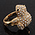 Swarovski Crystal 'Frog' Ring In Gold Plated Metal - view 6