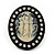 Large Simulated Pearl 'Cameo Ladies' Cocktail Ring In Black Tone Metal (Adjustable) - 5.5cm Length