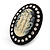 Large Simulated Pearl 'Cameo Ladies' Cocktail Ring In Black Tone Metal (Adjustable) - 5.5cm Length - view 2