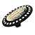 Large Simulated Pearl 'Cameo Ladies' Cocktail Ring In Black Tone Metal (Adjustable) - 5.5cm Length - view 3