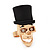 Gold Plated 'Black Hat Skull' Ring - Adjustable (Size 7/8) - 4cm Length - view 2