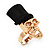 Gold Plated 'Black Hat Skull' Ring - Adjustable (Size 7/8) - 4cm Length - view 3
