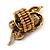 Stunning Swarovski Crystal Snake Stretch Ring In Burn Gold Metal (6cm Length)- 7/9 Size - view 3