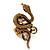 Stunning Swarovski Crystal Snake Stretch Ring In Burn Gold Metal (6cm Length)- 7/9 Size - view 4