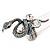 Stunning Swarovski Crystal Snake Stretch Ring In Burn Silver Metal (6cm Length) - 7/9 Size
