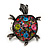 Multicoloured Crystal 'Turtle' Flex Ring In Burn Silver Metal - 5.5cm Length - (Size 7/9) - view 3