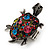 Multicoloured Crystal 'Turtle' Flex Ring In Burn Silver Metal - 5.5cm Length - (Size 7/9) - view 5